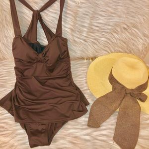 a.n.a.  One Piece Brown Swimsuit